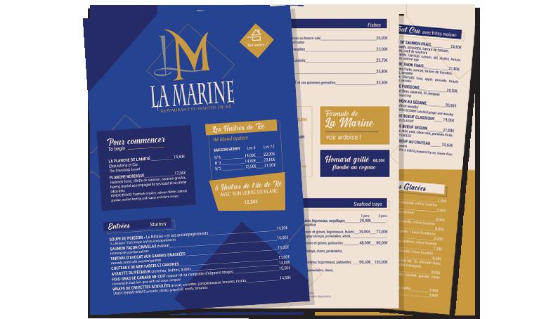 Menu et Carte Restaurant La Marine